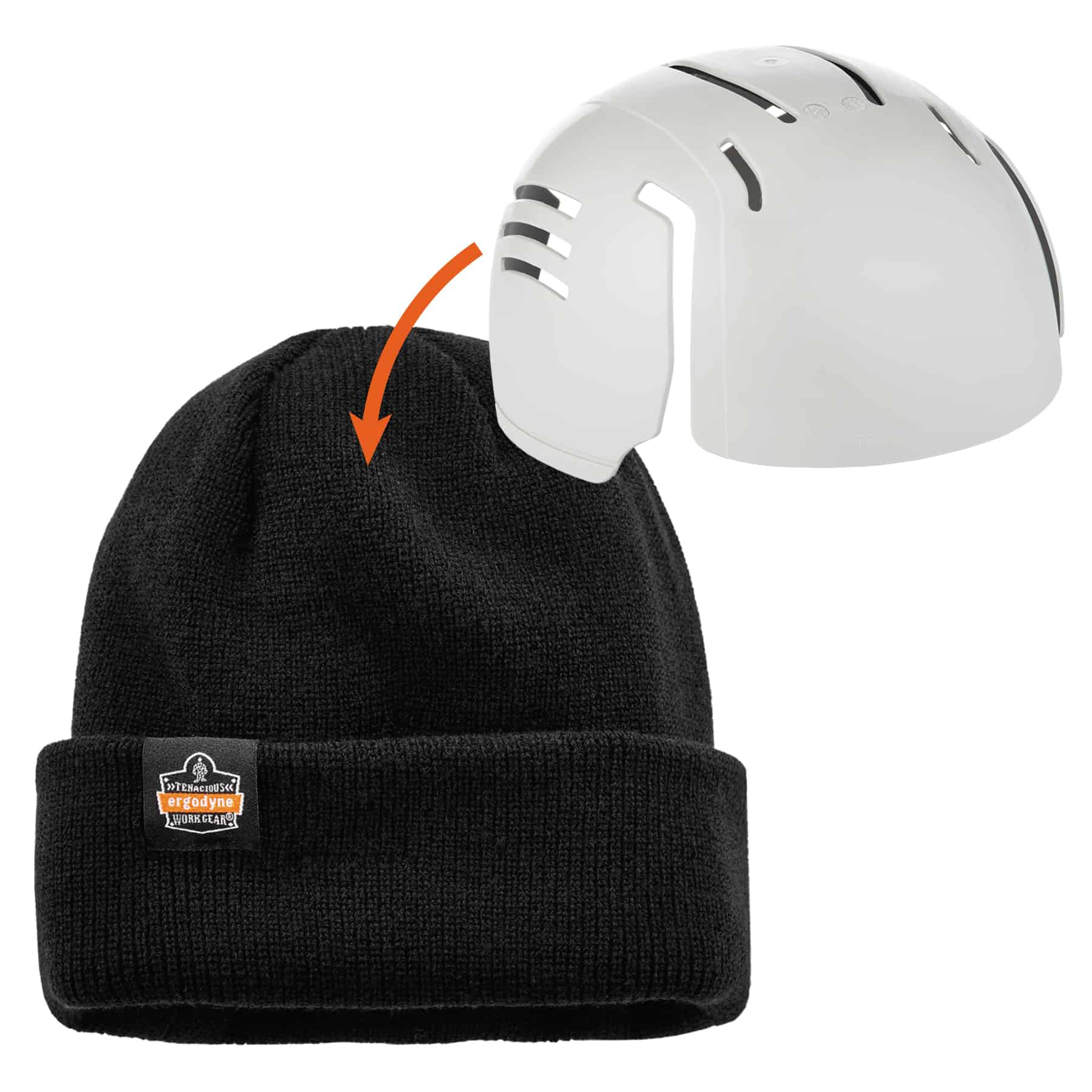Ergodyne 6811ZI  Black Rib Knit Hat with Zipper for Bump Cap Insert with Insert