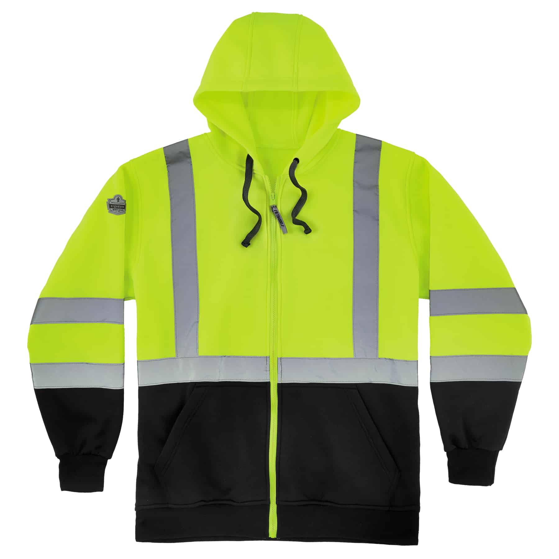 Green High Visibility Black Front Hooded Zip-Up Sweatshirt-Ergodyne 8372