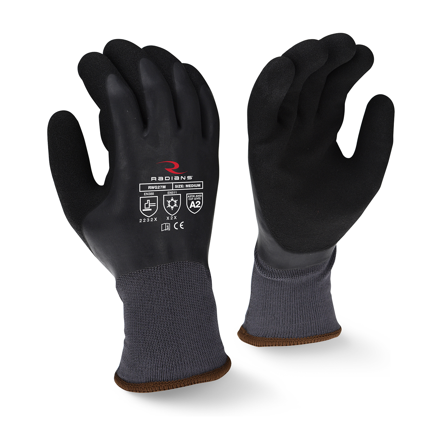 Radians RWG28 Winter Glove Gray Full Dip w/Black Sandy Latex