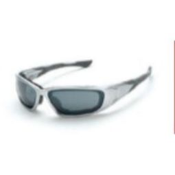 Crossfire 24223 MP7 Foam Lined Glasses - Silver Mirror Lens, Shiny Chrome Frame