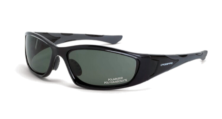Crossfire MP7 Polarized Blue/green Lens, Crystal Black Frame (no foam lining)