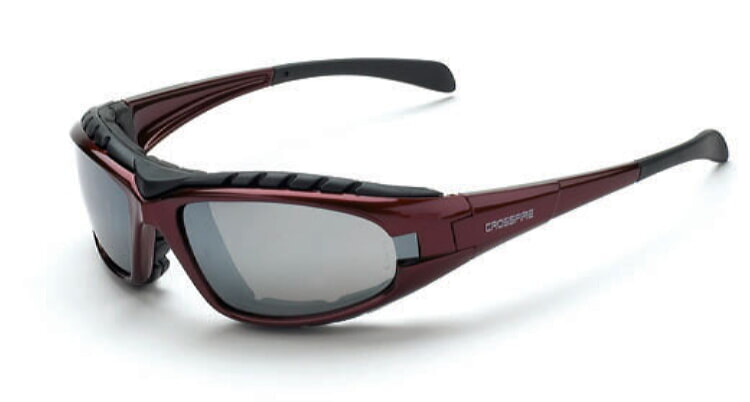 Crossfire 27103 Diamondback Foam Lined Safety Glasses - Silver Mirror Lens, Shiny Red Frame