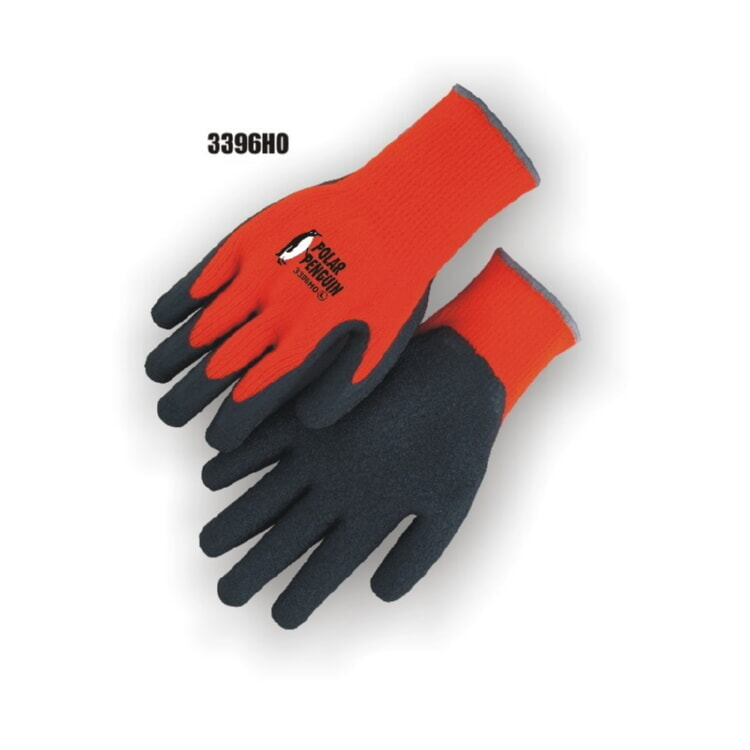 Majestic 3396HO Terry Lined Rubber Palm Glove - Winter Hi-Viz Orange (DZ) Size S