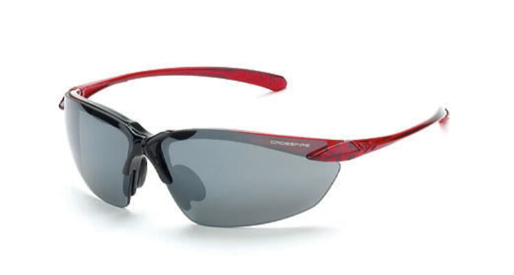 Crossfire Sniper Silver Mirror Lens, Shiney Black/Crystal Burgundy Red Frame