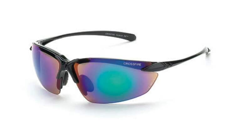 Crossfire Sniper Emerald Mirror Lens, Shiney Black Frame