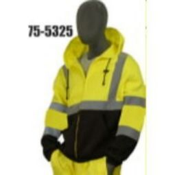 Majestic 75-5325 Class 3 High Visibility Yellow Sweatshirt, Hooded, Zipper w/Black Size 4X