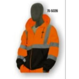 Majestic 75-5326 Class 3 High Visibility Orange Sweatshirt, Hooded, Zipper, w/ Black Size 6X