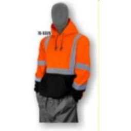 Majestic 75-5328 High Visibility Class 3 Pullover Hooded Sweatshirt - Hi-Viz Orange/Black Size 5X