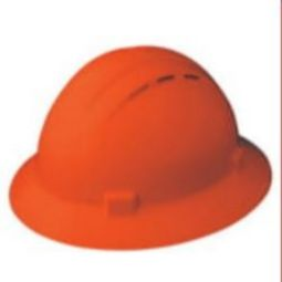ERB 19337 Americana Full Brim Vent Hi-Viz Orange Hardhat 4pt Nylon Suspension - Slide-Lock