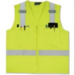 ERB S414 Class 2 Surveyor''s Safety Vest w/ Zipper - Hi Viz Lime