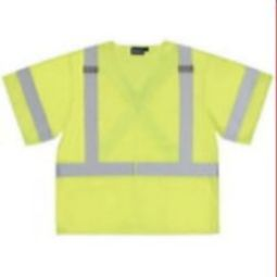 ERB S549 Class 3 Safety Vest - X-Back Tricot Hi Viz Lime with Pockets