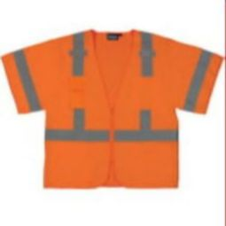 ERB S852 Class 3 Safety Vest - Oxford Front/Mesh Back Hi Viz Orange with ZIpper