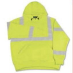 ERB S376 High Visibility Class 3 Hooded Sweatshirt Pull over with Drawstring - Hi Viz Lime