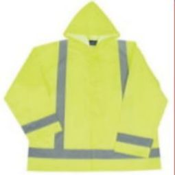 ERB S373 Class 3 Lightweight Oversized Raincoat with Attached Hood - Hi Viz Lime