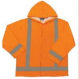 ERB S373 Class 3 Lightweight Oversized Raincoat with Attached Hood - Hi Viz Orange
