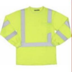 ERB 9603S Class 3 Long Sleeve Polyester Knit T-shirt with Wicking - Hi Viz Lime