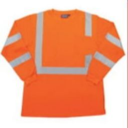ERB 9603S Class 3 Long Sleeve Polyester Knit T-shirt with Wicking  - Hi Viz Orange