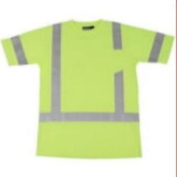 ERB 9801S Class 3 Short Sleeve Polyester Knit T-shirt with Wicking - Hi Viz Lime
