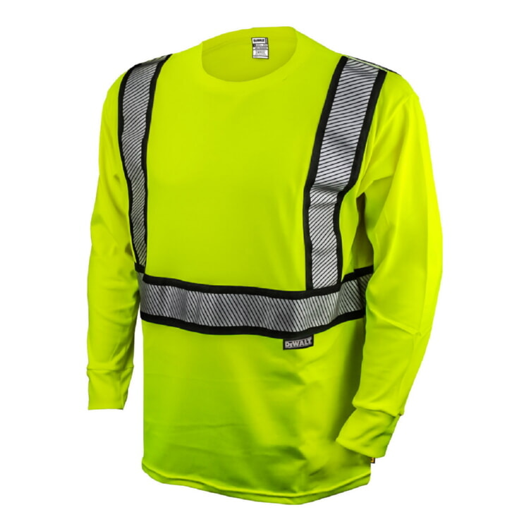 DeWALT® DST921 Class 2 HI-VIZ Long Sleeve Modacrylic FR T-Shirt
