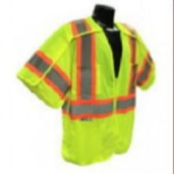 Radians SV24-3 Class 3 Breakaway Mesh Surveyor Safety Vest - Hi-Viz Yellow w/ Flap