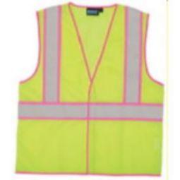 41cf90db918fc3 ERB S730 ANSI Class 2 Unisex Vest Mesh Hi-Viz Lime with Pink Trim -