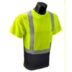 Radians ST11B-2PGS Class 2  HI-VIZ Wicking Mesh with Black Bottom Front T-Shirt-Green
