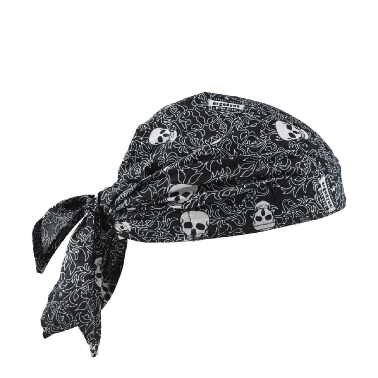 Ergodyne Chill-Its 6710CT Evaporative Cooling Triangle Hat w/ Cooling Towel - Skulls