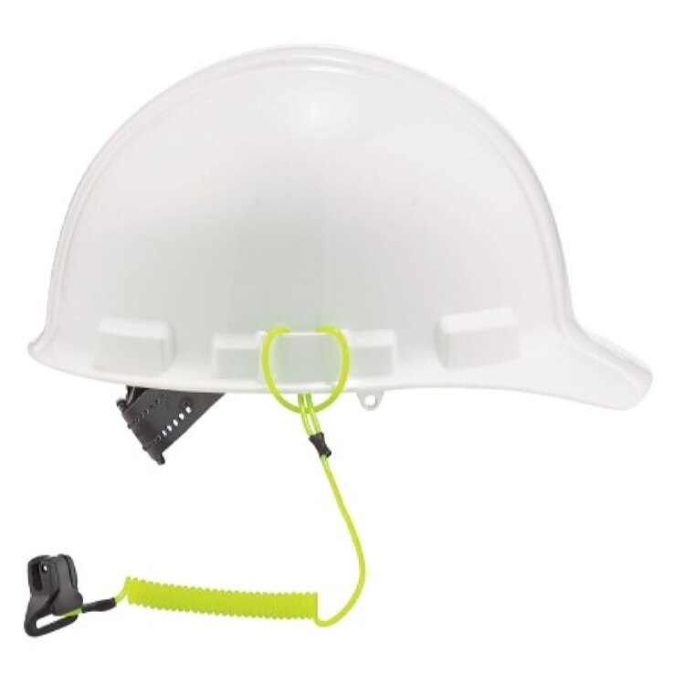 Ergodyne squids 3158 Coil Hard Hat Lanyard with Clamp - Lime