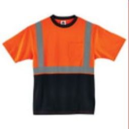 Ergodyne  8289BK-ORANGE Class 2 Hi-VIZ Black Front T-Shirt - Orange
