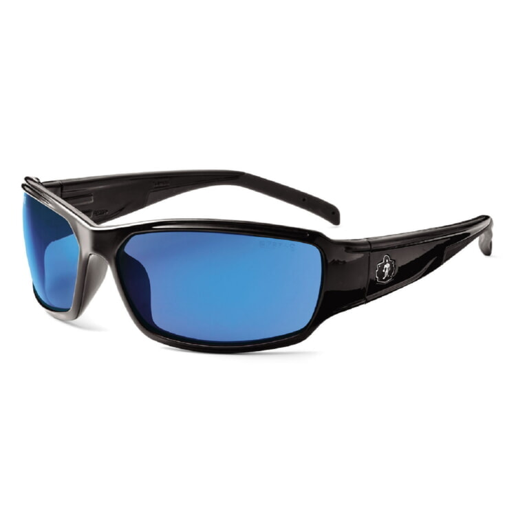 Ergodyne Skullerz THOR Safety Glasses - Black Frame - Blue Mirror Lens