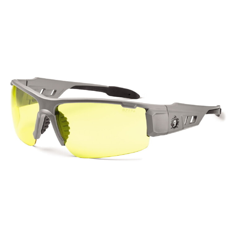 Ergodyne Skullerz DAGR Safety Glasses - Matte Gray Frame - Yellow Lens