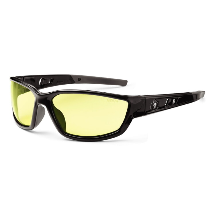 Ergodyne Skullerz KVASIR Safety Glasses - Black Frame - Yellow Lens