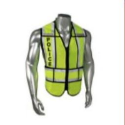 Radians LHV-207-SPT-BLK-POL Police - Class 2 Black Trim Safety Vest - Green - Regular