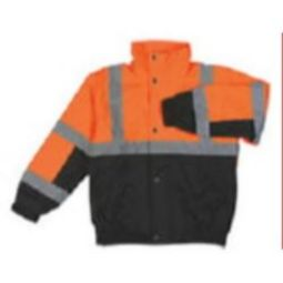 ERB W106T ANSI Class 3 Hi-Viz Orange/Black Bomber Jacket w/ Fleece Liner & Zipper