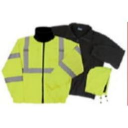 ERB W510 ANSI Class 3 Bomber Jacket Oxford w/PU Coating, Removable Fleece Liner Hi-Viz Lime-Zipper