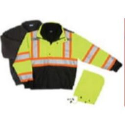 ERB W550 ANSI Class 3 Contrasting Trim 3 n 1 Bomber Jacket Removable Fleece Liner Hi-Viz Lime & Black-Zipper