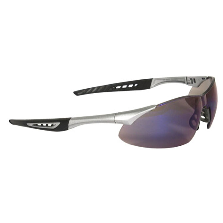 Radians Rock Safety Eyewear RK6-70 Blue Mirror Lens, Silver Frame