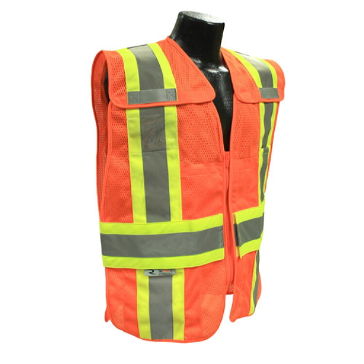 Radians SV24-2ZOM Expandable Two-Tone Class 2 Breakaway Safety Vest -Orange