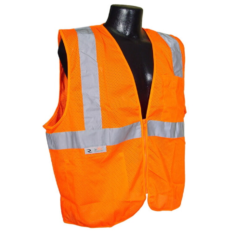 Radians SV25-2ZOM Economy Class 2 Self Extinguishing Safety Vest w/ Zipper Orange