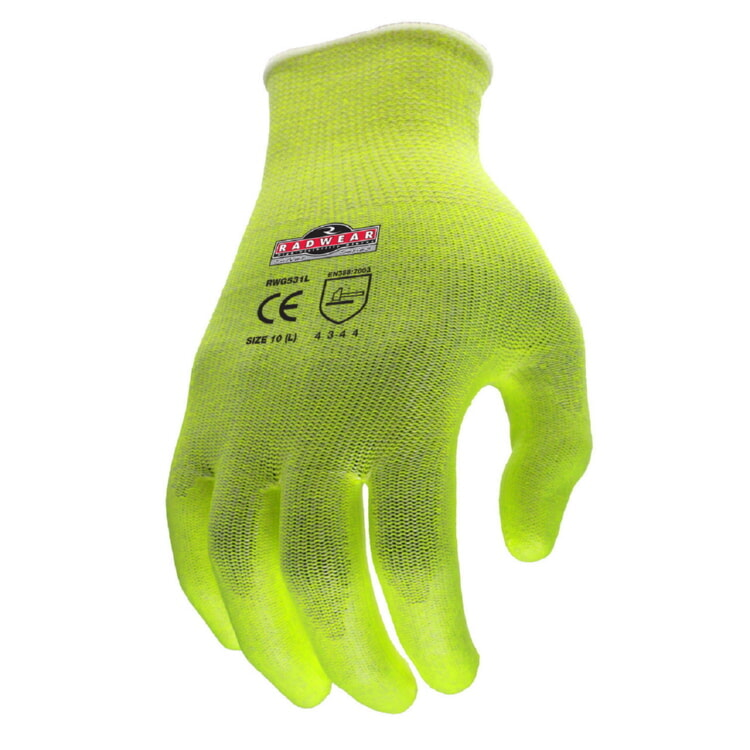 Radians RWG531 Hi-Viz  Kintted Cut A2 HPPE Work Gloves 13 Gauge