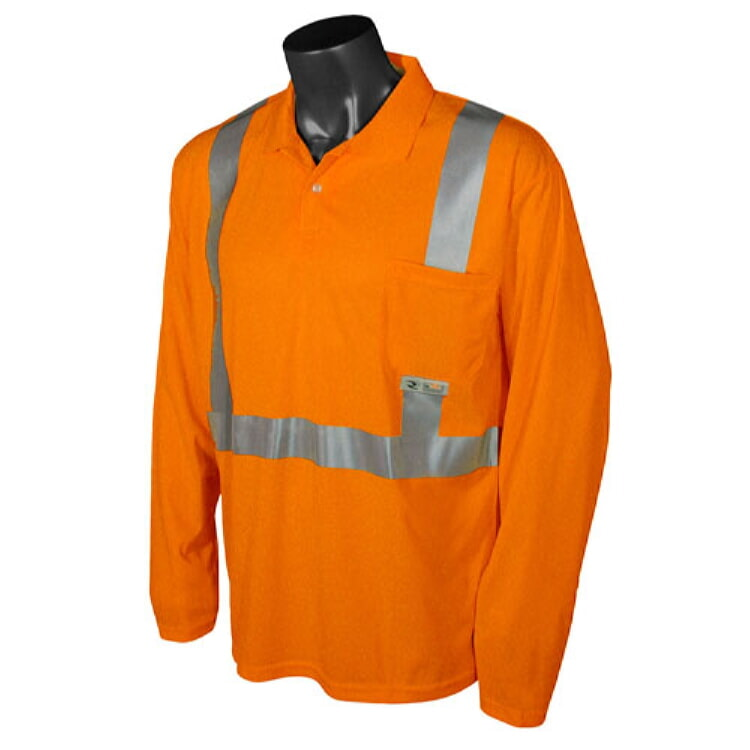 Radians  ST22-2POS Class 2 Hi-Viz  Long Sleeve Polo  Safety Shirt-Orange