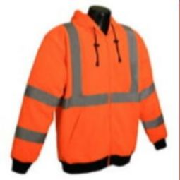 Radians SJ01-3ZOS Class 3 High Visibility Orange Long Sleeve Hooded Sweatshirt