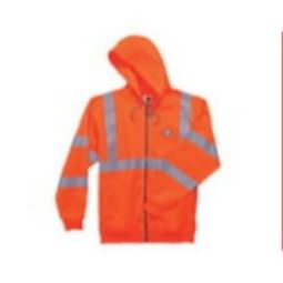 Ergodyne GloWear 8392 High Visibility Class 3 Zipper Hooded Sweatshirt - Orange