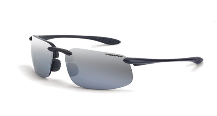 Crossfire ES4 silver mirror polarized lens, crystal black frame