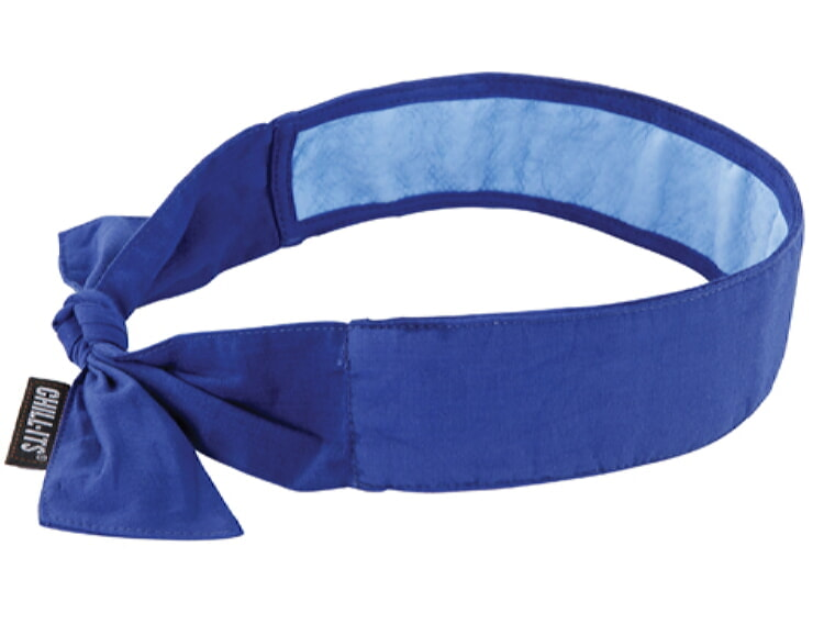 Ergodyne Chill-Its 6700CT Cooling Tie Bandana w/ Towel - Solid Blue
