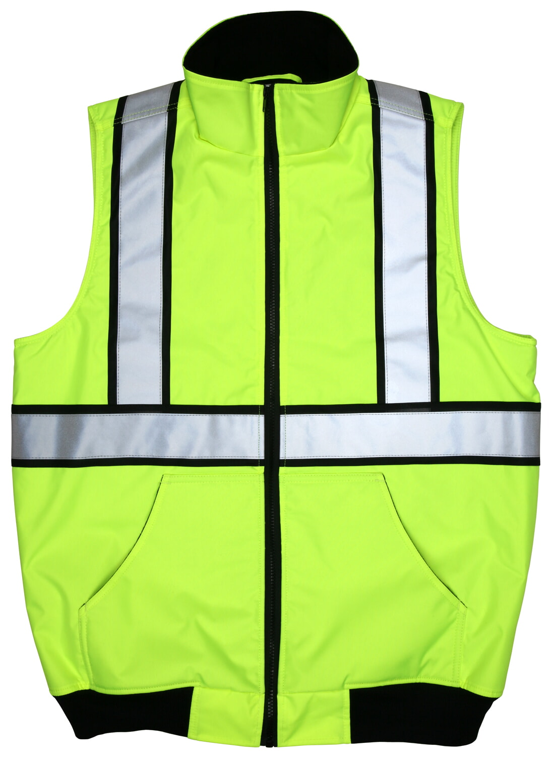 MCR Safety BWCS2L Luminator™, Body Warmer, ANSI Class 2 water resistant insulated polyester, fleece liner w/zipper front Lime Safety Vests