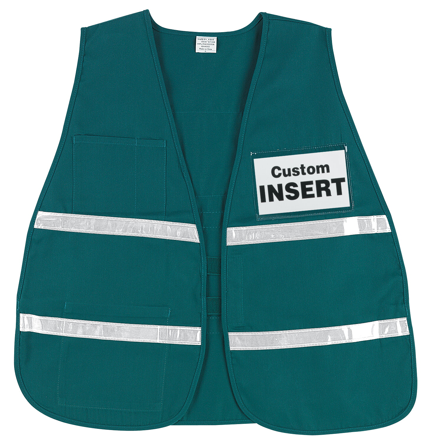 MCR River City ICV208 Incident Vest, Green, White Reflective Green