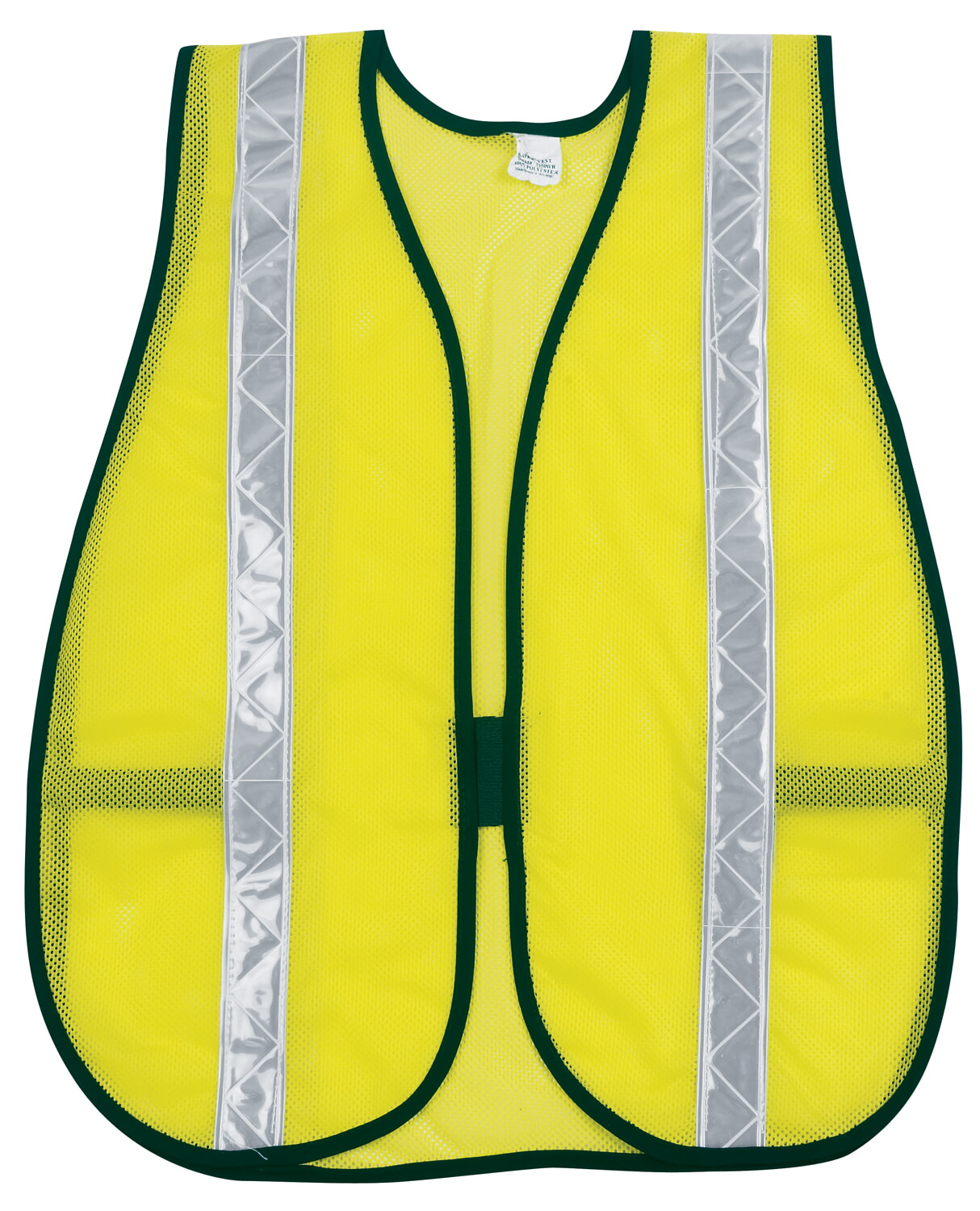 MCR River City S220WR Poly, Mesh Safety Vest, 1 3/8 White Strip Lime