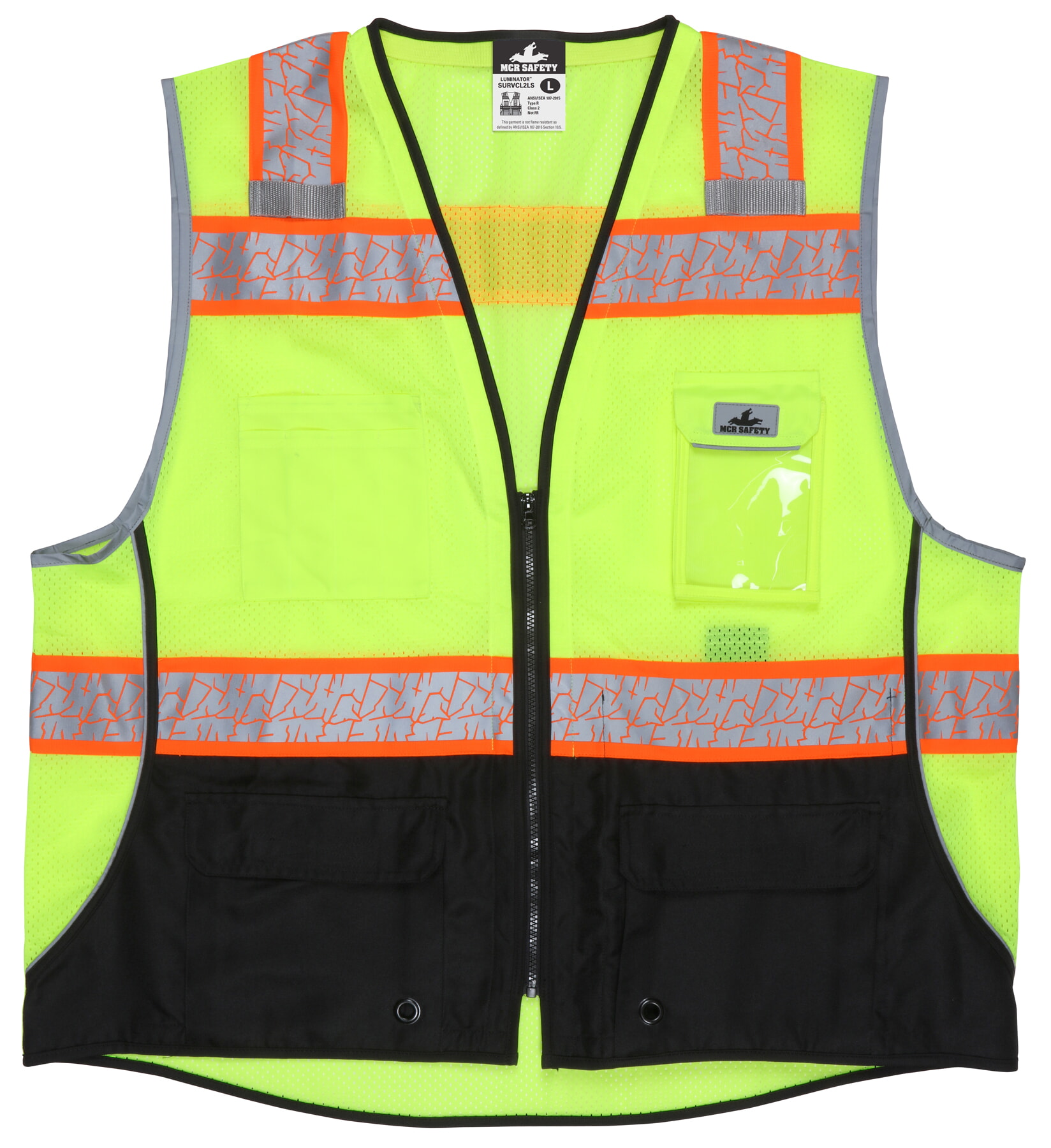 MCR Safety SURVCL2LS Class 2, Black Bottom, Zipper, Mesh M Lime Safety Vests