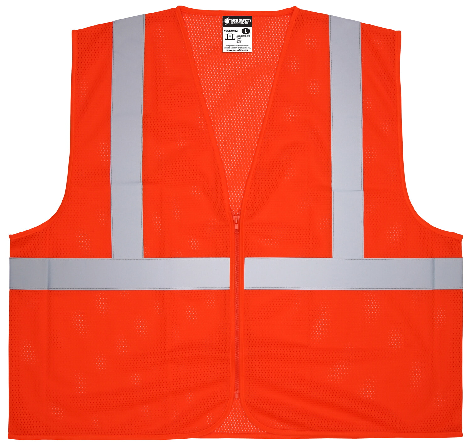 MCR Safety V2CL2MOZ V2, Class 2, Mesh, Zipper, No Pockets  Orange Safety Vests